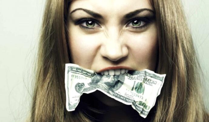 Банкрот, долг, девушка, доллар, банкротство, должник