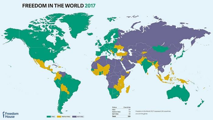Рейтинг свободы стран мира - 2017: Финляндия - лидер, Украина - на 107 месте