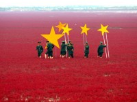 Soldiers turn red marshland into China's national flag, China - 26 Sep 2012...Mandatory Credit: Photo by Quirky China News / Rex Features (1886826a) Soldiers use stars to turn the marshland into the Chinese flag Soldiers turn red marshland into China's national flag, China - 26 Sep 2012 To celebrate China