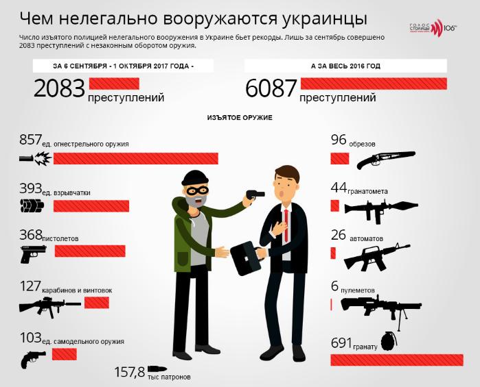 Нелегальное оружие украинцев в инфографике