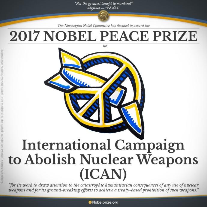 Нобелевскую премию мира получила Международная кампания за ликвидацию ядерного вооружения Подробности читайте на УНИАН: https://www.unian.net/world/2173829-nobelevskuyu-premiyu-mira-poluchila-mejdunarodnaya-kampaniya-za-likvidatsiyu-yadernogo-voorujeniya.html