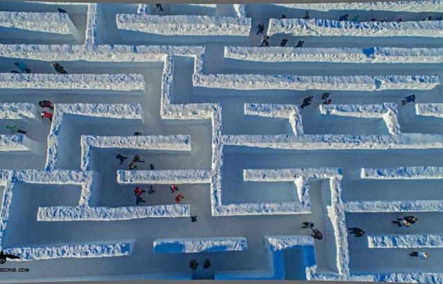 Поляки построили крупнейший лабиринт из снега