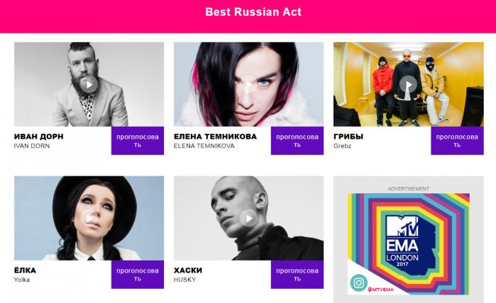 """Премию MTV в номинации """"Лучший российский исполнитель"""" могут забрать украинцы"""