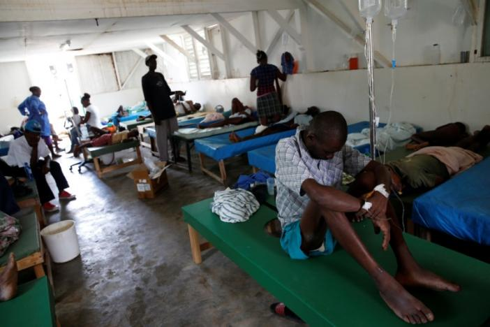 People are being treated at the cholera treatment center at the hospital after Hurricane Matthew passes in Jeremie, Haiti, October 9, 2016. REUTERS/Carlos Garcia Rawlins
