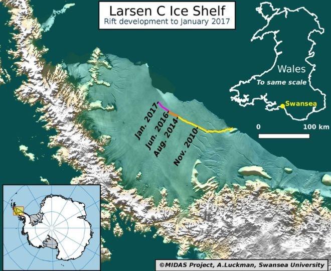 В Антарктиде отколется айсберг площадью 5 тыс квадратных километров и поднимет уровень воды на 10 см
