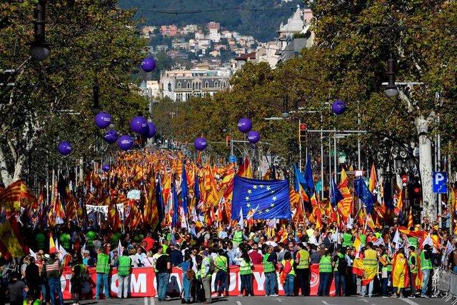 В Барселоне прошла демонстрация за единство с Испанией