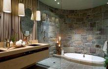 Искусственный камень в интерьере ванной комнаты