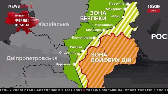 Карта цветных зон ООС, КПВВ, пропуск, АТО, ограничение, Луганская область, Донецкая область